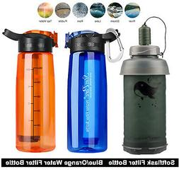 3 stage portable water filter straw bottle