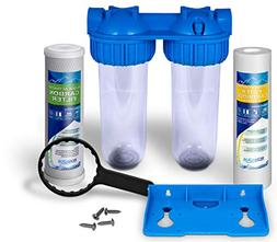 Dual Whole House Water Filter Purifier with Carbon Block and