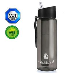 SurviMate Filtered Water Bottle BPA Free with 4-Stage Interg