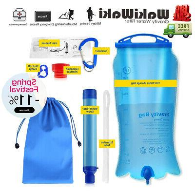 outdoor gravity survival water filter straw travel