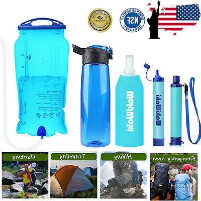 portable survival water filter straw purifier bottle