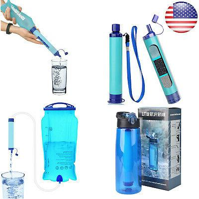 survival water filter straw purifier filtration bottle