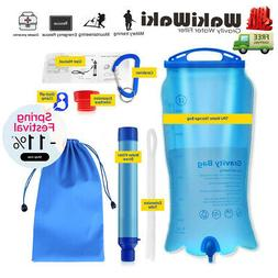Gravity Survival Water Filter Straw Purifier Travel Camping