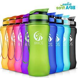 ZORRI Sports Water Bottle 20oz/1000ml, Leak Proof BPA Free E