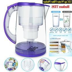 Water Filter Pitcher,12-Cup Large Water Purifier Reduce TDS