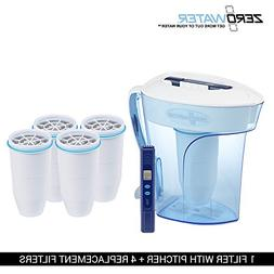 ZeroWater ZP-010 Pitcher with 1 Filter and 4 Replacement Fil